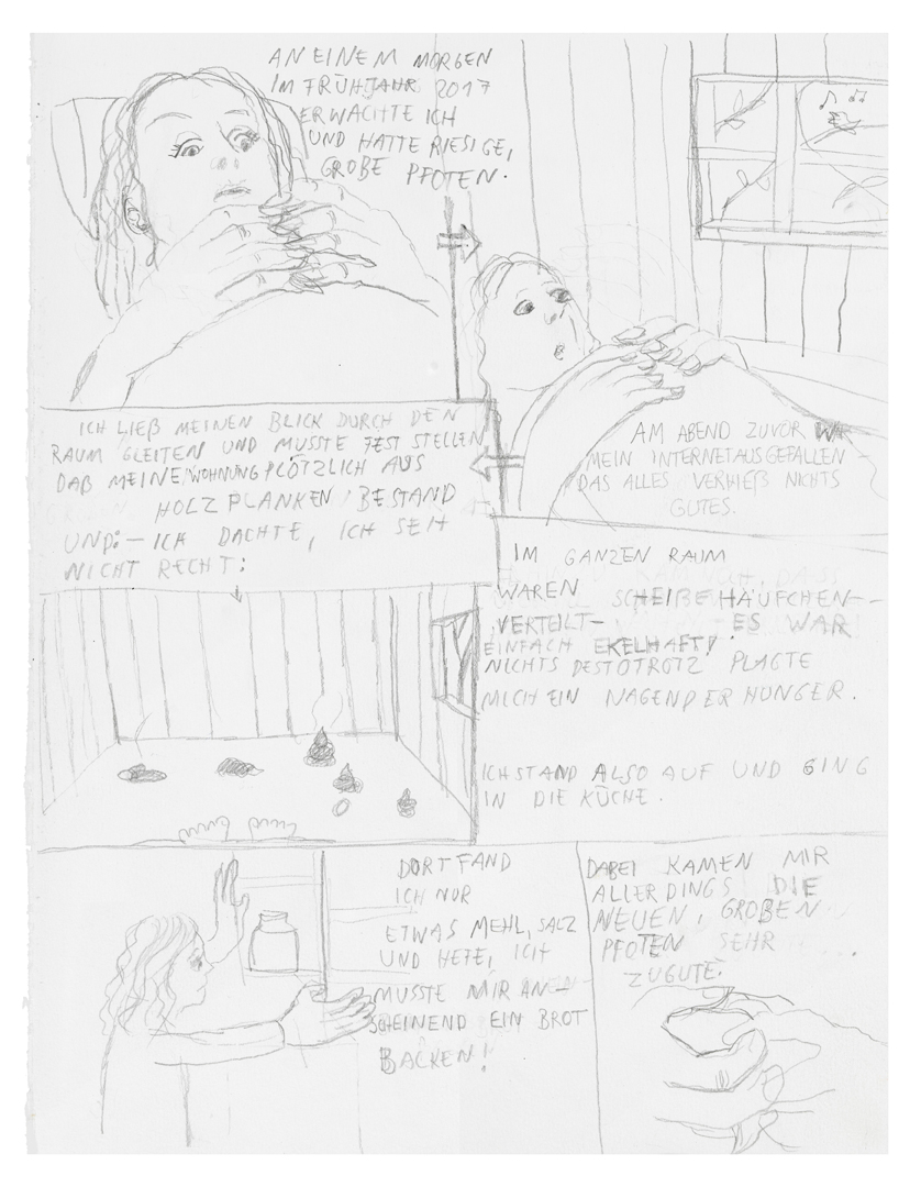 pencil drawn comic of artist examining her big hands