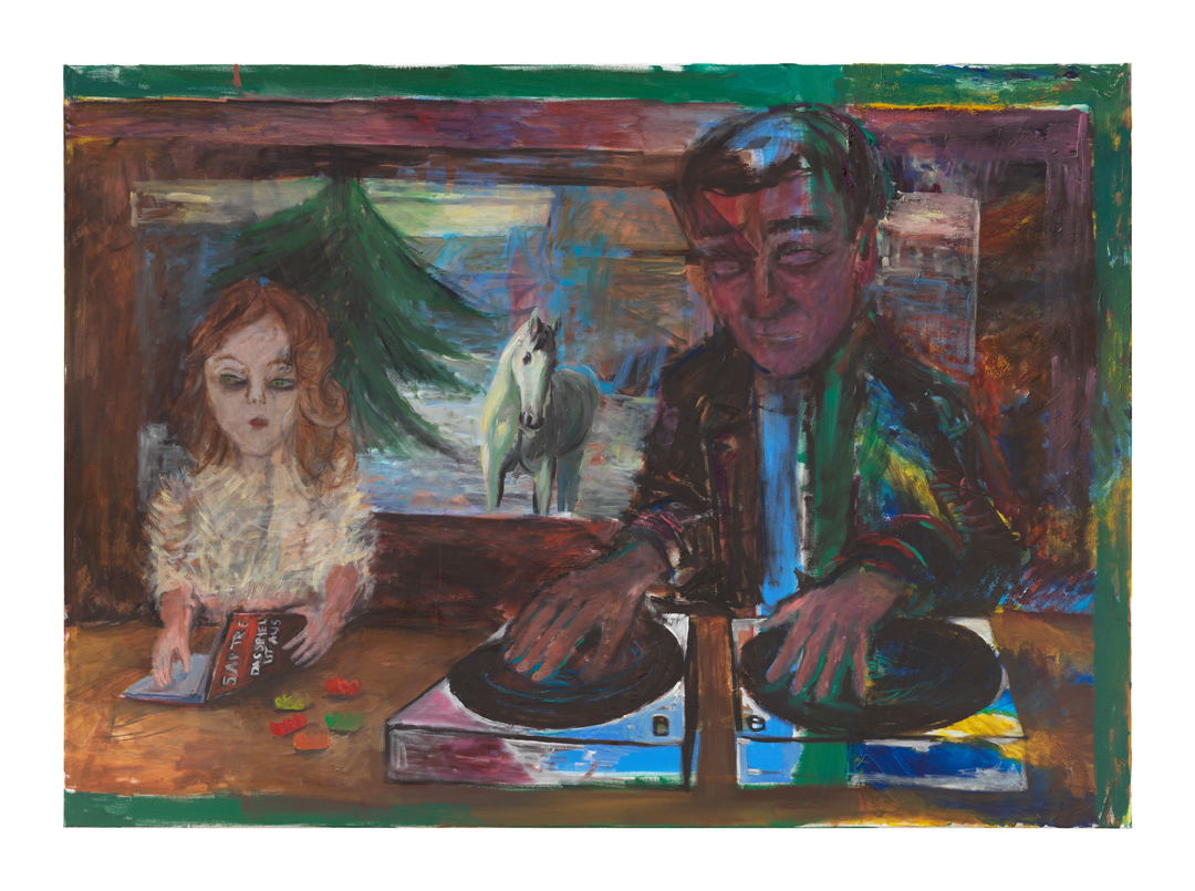 painting of a girl reading Sartre next to a man DJ-ing with a white horse in the background