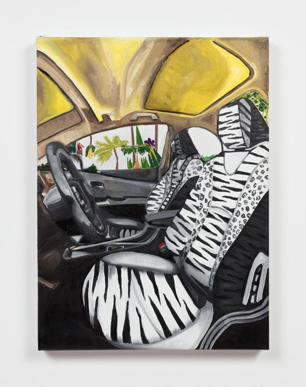 painting of zebra print seats inside car