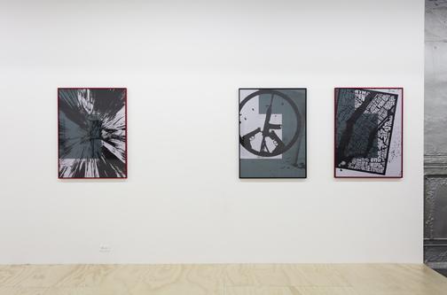 installation image of three prints