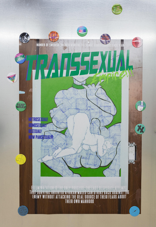image of poster saying Transsexual Empire! with magnets on metallic wall