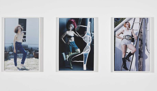 three framed photographs of artist posing in different outfits