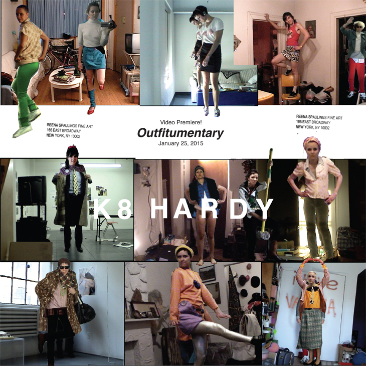 Poster for outfitumentary premiere made up of photos of K8 Hardy outfits