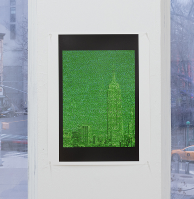 green grainy print of Empire State Building