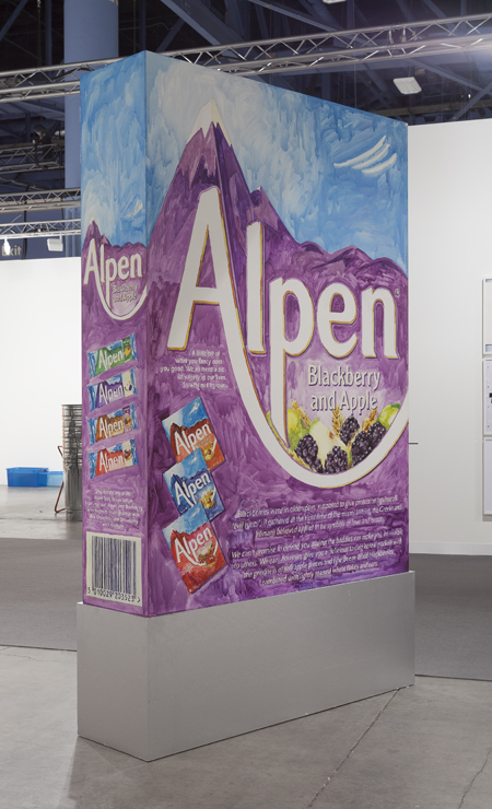 image of giant box of Alpen cereal on pedestal