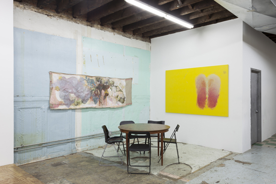 installation view of paintings on adjacent walls