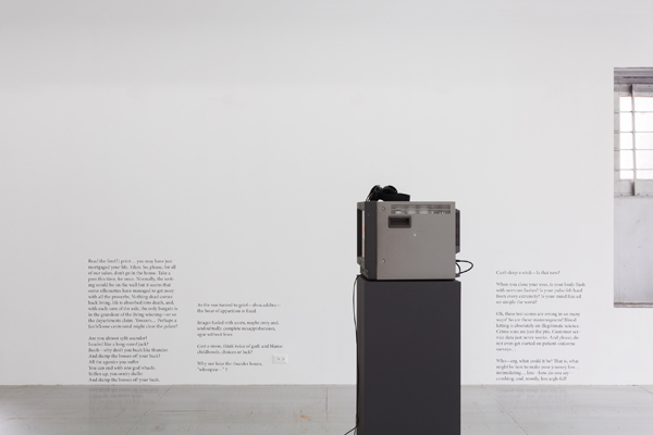 installation image of video screen on pedestal and text on wall