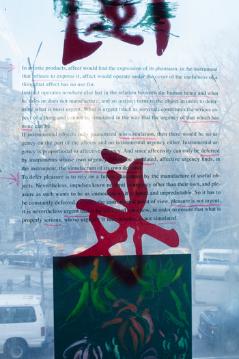 image of a print of text and annotation on Reena Spaulings window with Chinese character