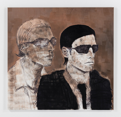 painting of two men wearing sunglasses facing right