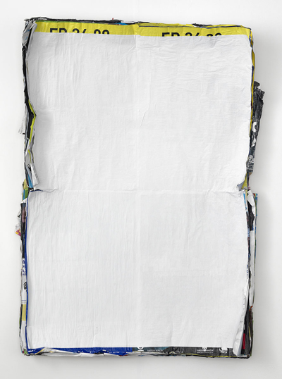 image of a poster stack painted white